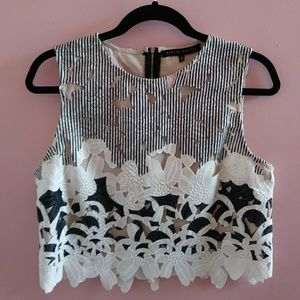 English Factory Floral Eyelet Crop Top L